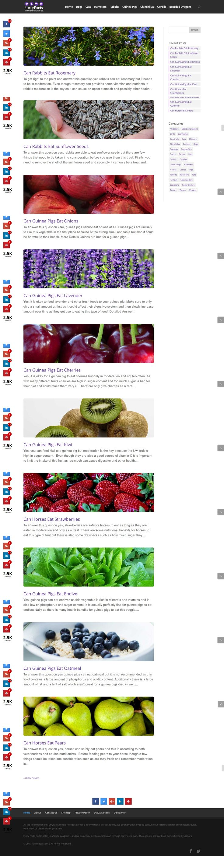 Furry Facts provides all information regarding diet and nutrition for pets. They provide authentic answers to your queries and regularly update the site with useful and relevant information related to a variety of animals  ranging from chinchillas to hamsters to cats and dogs.