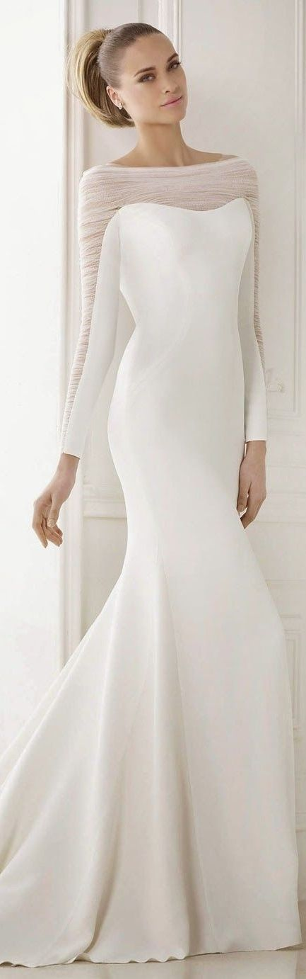 Pronovias 2015 Bridal Collection Pronovias 2015 Wedding Dress wedding dresses bridal gown bridal gowns sheath mermaid cut sheer sleeves long sleeves buttons modest