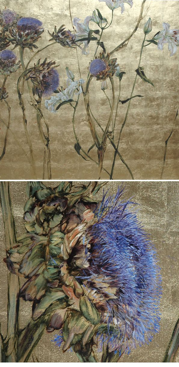 cornflower blue on faded gold: beautiful art by Claire Basler