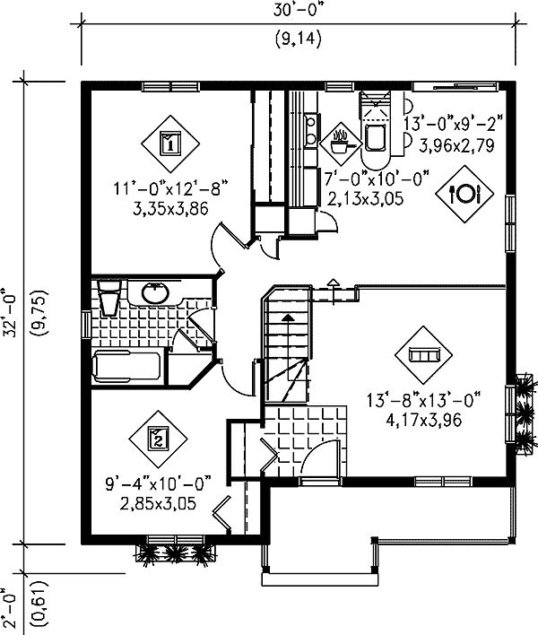 Simple Two Bedroom Cottage - 80363PM floor plan - Main Level