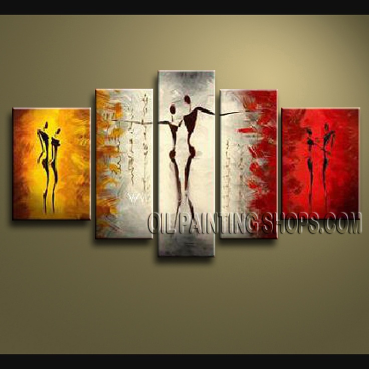 Primitive Modern Textured Painted Wall Art Oil Painting On Canvas Panels Stretched Ready To Hang Figure. This 5 panels canvas wall art is hand painted by V.Chua, instock - $149. To see more, visit OilPaintingShops.com