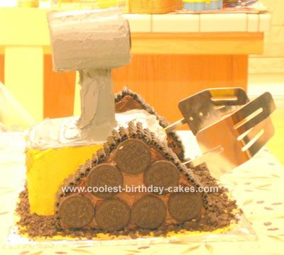 Wall-E-Cake: My son requested a Wall-E cake for his 6th birthday.  It took some creativity, but turned out to be not very difficult.  I stacked 3 8 x 8 cakes (with