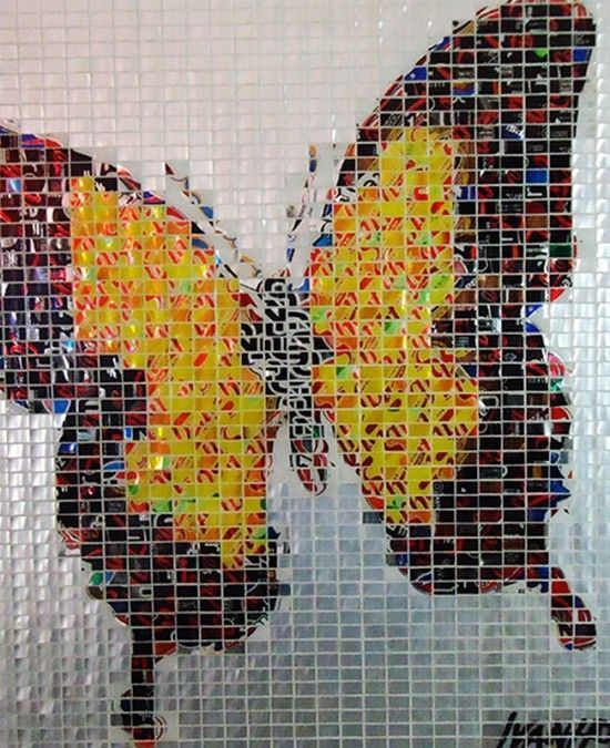 Mosaics made from recycled cans by Jeff Ivanhoe