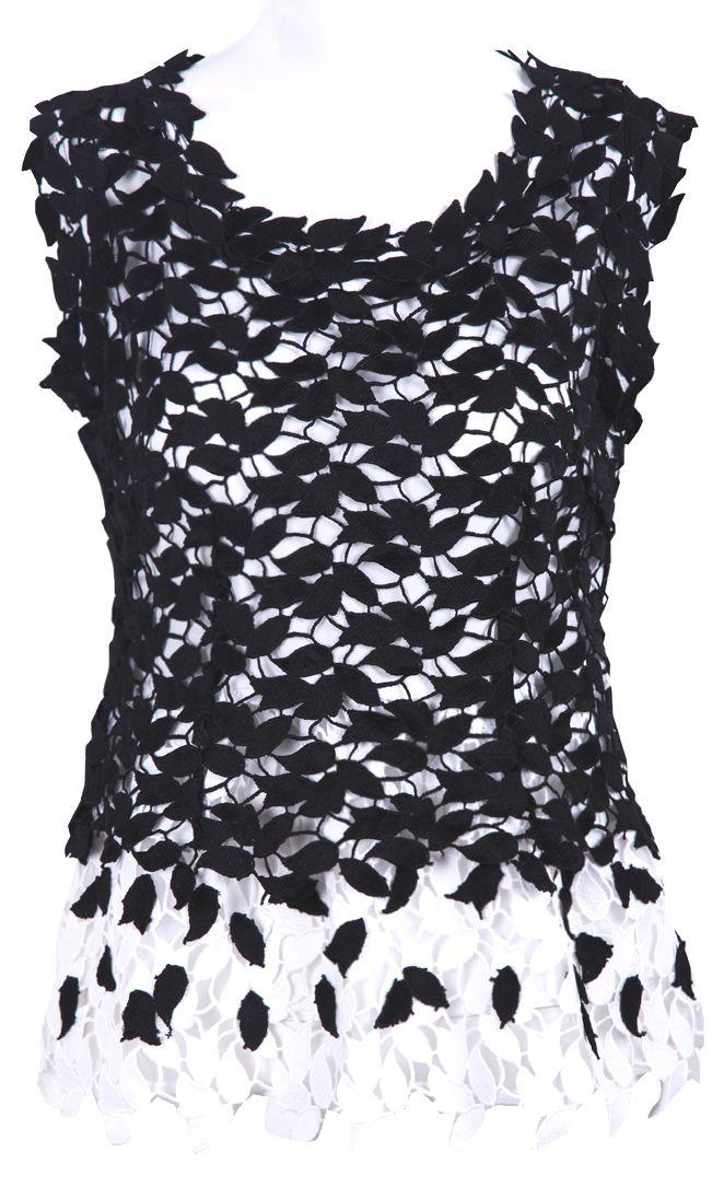 #SheInside Black and White Sleeveless Leaf Guipure Lace Blouse - Sheinside.com