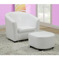 Ens chaise et pouf juvenile 2mcx / simili-cuir blanc