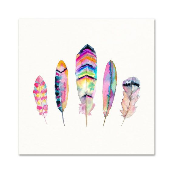 NATURE'S FEATHERS WATERCOLOR PRINT