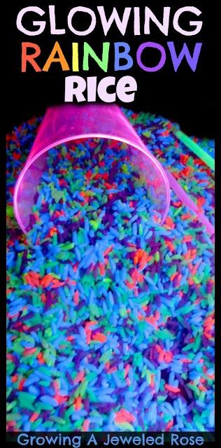 Glowing rice sensory play