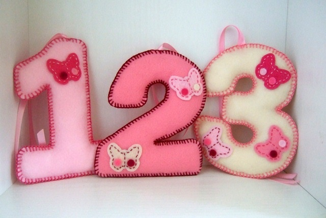 Pink Butterfly Felt Number Decorations