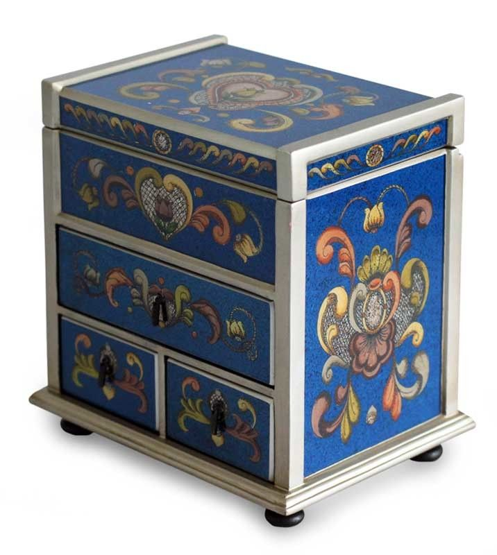 Hand-Crafted Reverse Painted Glass Wood Jewelry Box