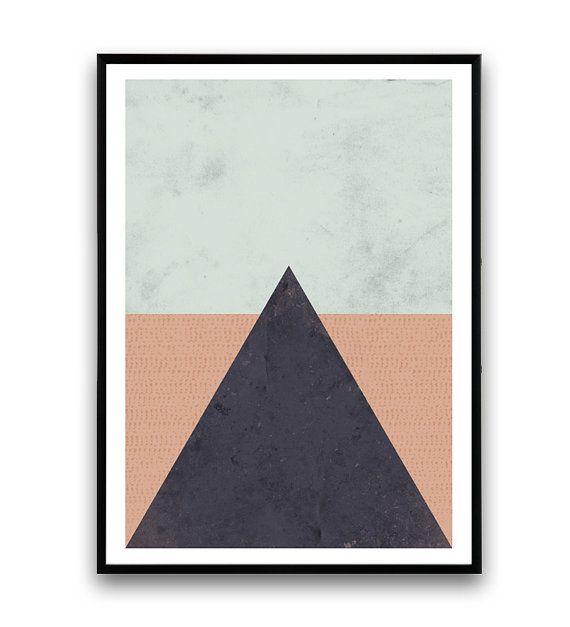 Minimalist print Wall art Triangle print Simple art by Wallzilla