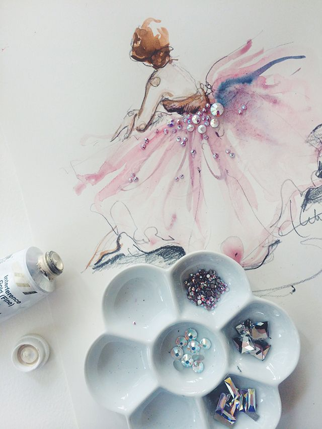 Behind the Paintings—a breakdown of the artist's favorite painting tools & supplies—paper • palettes • gouache • watercolor • brushes • drawing pencils • embellishments • adhesives—art supply help from an artist's perspective❣ (details @ link) Katie Rodgers • Paper Fashion