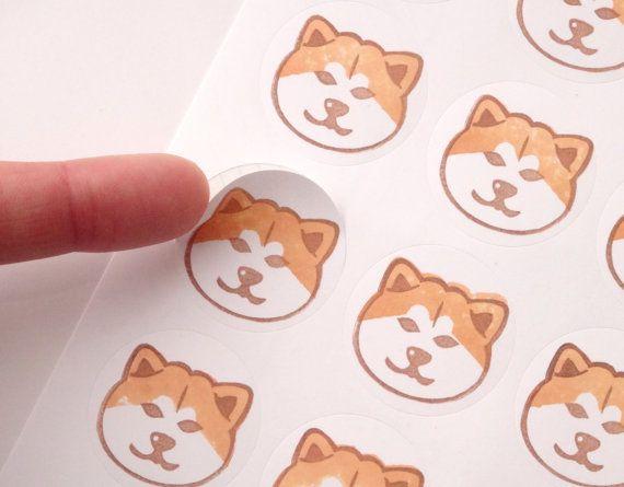 48 Akita inu stickers Japanese Akita inu by JapaneseRubberStamps