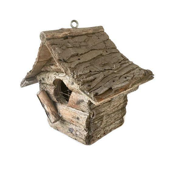 Vintage Folk Art bird house / Wood Bark Log Cabin Birdhouse / primitive garden decor