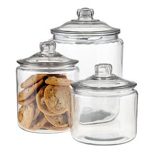 Our Glass Canisters with Glass Lids are our best selling options in large capacity glass food storage. They're great for flour, sugar, coffee, tea or rice. The unsurpassed visibility makes it easy to quickly identify the contents - especially advantageous when these are used as cookie jars! Set includes one of each size. You may edit quantities below or in your cart.