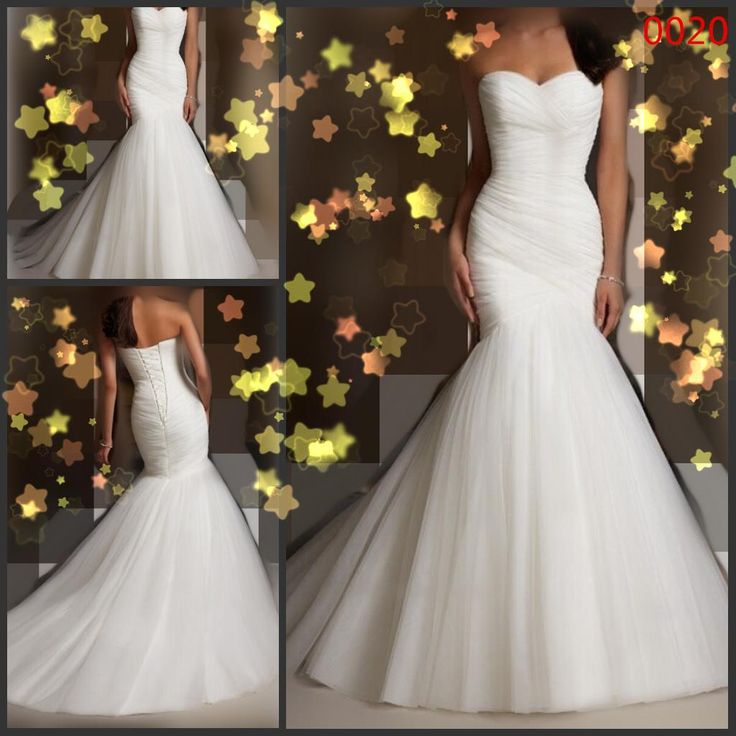 Wedding Dresses Bride Sexy Strapless Trumpet Mermaid Wedding Dresses 2014 New Design White Ivory Tulle Floor Length Lace Up/Corset Bridal Gowns Vera Wedding Dresses From Bride2028, $120.42| Dhgate.Com