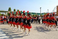 Milan Institute Martinitt e Stelline with majorette show at the EXPO 2015. Royalty Free Stock Image