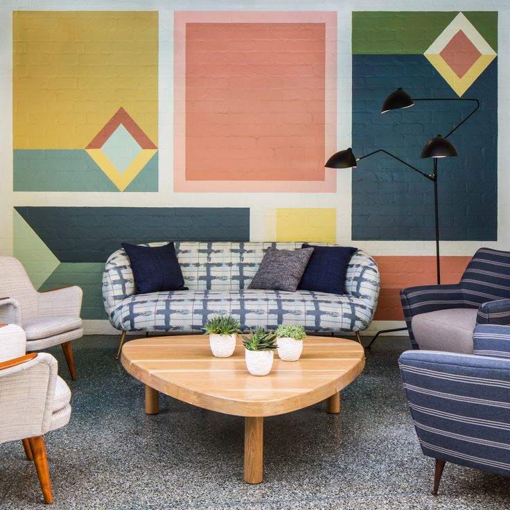 Avalon Hotel Beverly Hills Interior Design Is Colourful And Makes Use Of Different Geometrical Shapes