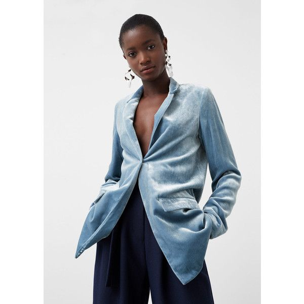 MANGO Velvet Blazer featuring polyvore, women's fashion, clothing, outerwear, jackets, blazers, blue jackets, pocket jacket, mango jackets, blazer jacket and blue velvet blazer