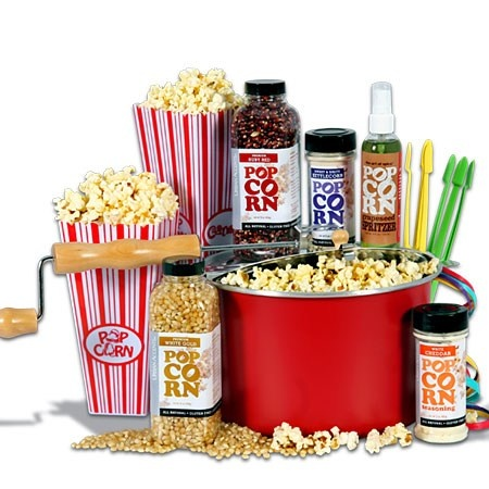 Popcorn Gift Basket Classic™:  The stove top popcorn maker and popcorn forks> ? What's a popcorn fork? I want this! $80