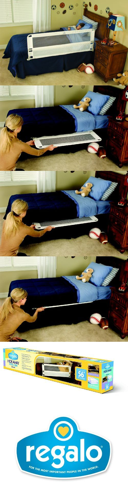 Regalo Hide Away Extra Long Bed Rail, White - The latest in bed safety rail technology is now available in an extra-long 56 length for added security. There are no more hassles making the bed or changing sheets. 20 extra-high side barrier accom... - Rails & Rail Guards - Baby - $26.95