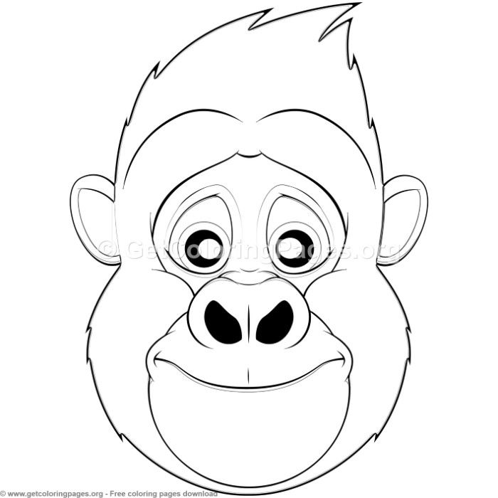 Gorilla Animal Face Mask Coloring Pages Free Instant Download