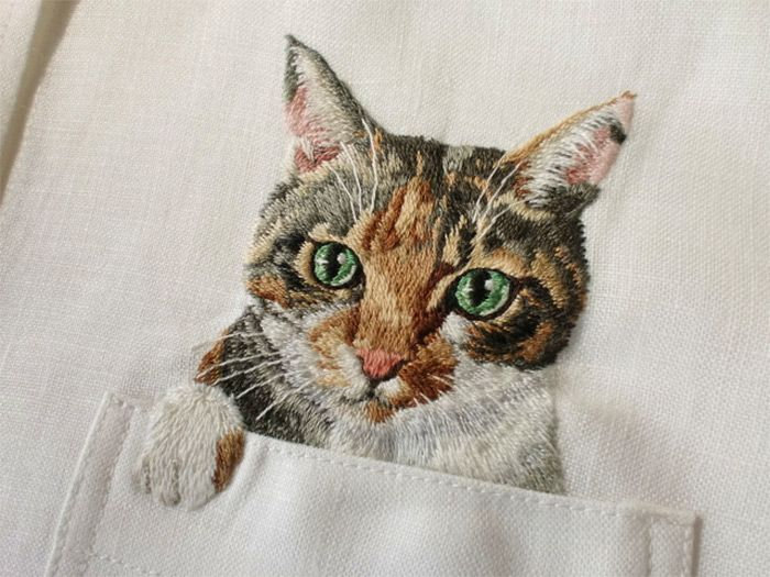 Artist Hiroko Kubota Embroiders Popular Internet Cats on Shirts at the Request…