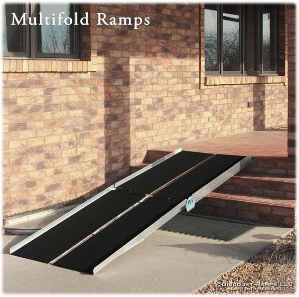 Multifold Wheelchair Ramp, folds in half & carries like a suitcase; lengths 5-12 ft, from Discount Ramps.