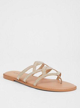 5a52deee064 Plus Size Nude Rhinestone Flip Flop Sandal (Wide Width)