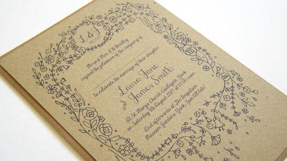 Story Book Wedding Invitation Rustic Eco Wedding