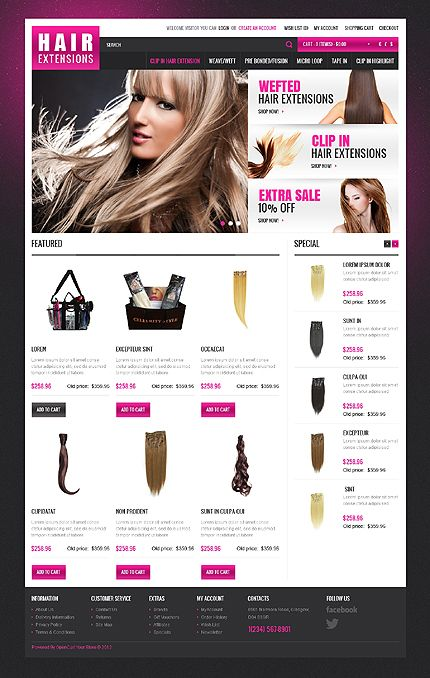 Hair Extensions OpenCart Templates by Hermes