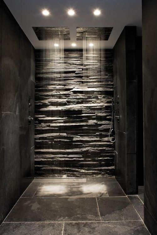 House, interior, design, home, double shower, bathroom, and design