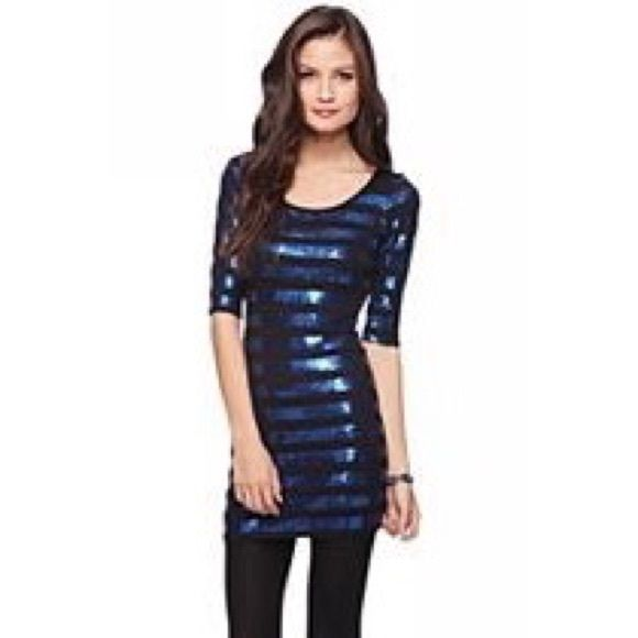 NWOT Black/blue sequin stripe dress NWOT black/blue sequin stripe dress. Easy slip on dress to wear for the holiday parties that are approaching! Forever 21 Dresses