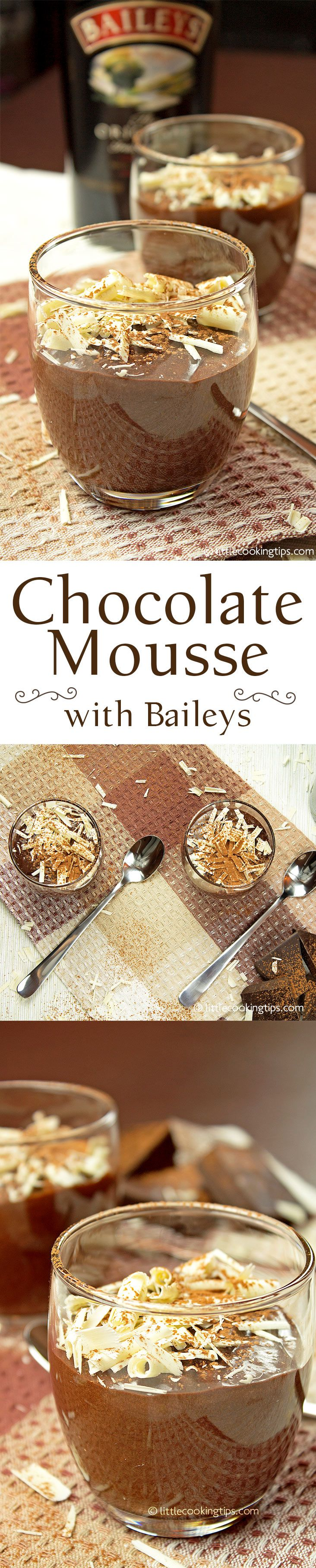 Chocolate mousse is one of those easy desserts you can try if you're new to the kitchen. It's simple and easy to follow, with very few ingredients. This chocolate mousse with Baileys is a must-try for every chocolate lover: decadent, rich, thick and delicious! #chocolate #mousse #Baileys #desserts