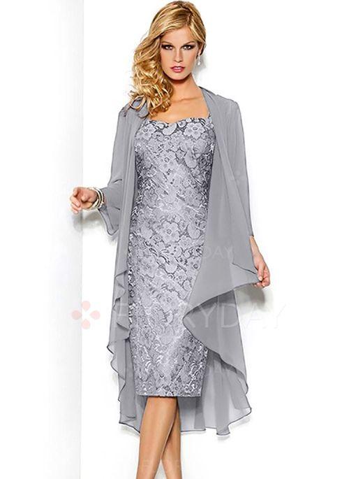 Sukienki - $71.62 - Koronka Solidny Długość do Kolan Elegancki Okrycie Sukienki (1955117562)