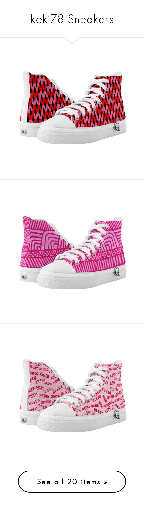 """""""keki78 Sneakers"""" by keki78 ❤ liked on Polyvore featuring shoes, sneakers, red sneakers, high top shoes, pink trainers, red hi top sneakers, pink high top sneakers, print sneakers, pink sneakers and print shoes"""