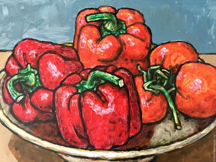 """Купить """"Ваза с красными перцами и помидорами"""" - ярко-красный, перец, картина для…"""