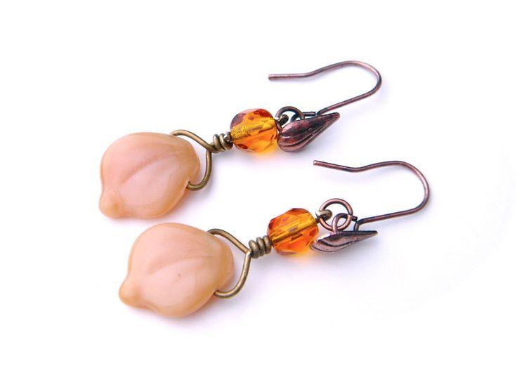 Vintage Czech Glass Earrings Drop Bronze Hool Brown Orange Leaf Flower Petal #Unbranded #DropDangle
