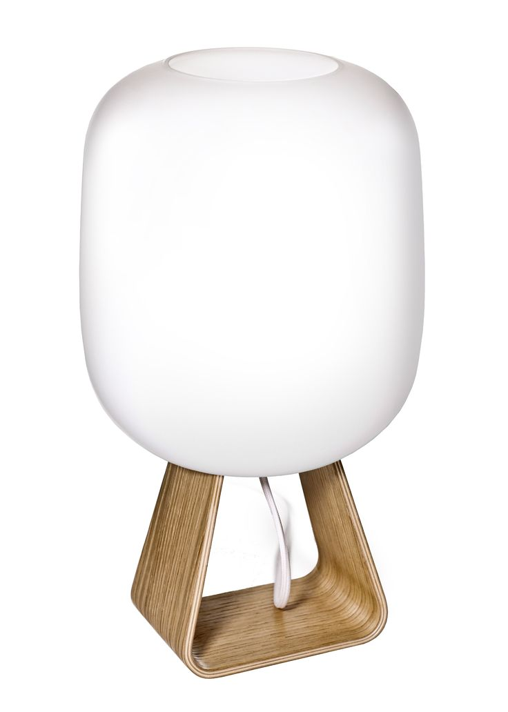 TOAD 1UP Table Lamp, OAK Handblown glass diffuser. Base made of bended oak plywood.