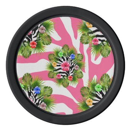 Tropical hibiscus and exotic pink zebra stripes poker chips set - pink gifts style ideas cyo unique
