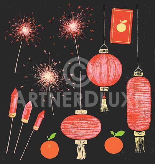 ArtnerDluxe Illustrator and Vector Artist Chinese New Year [CNY] 2017 chalk drawing elements