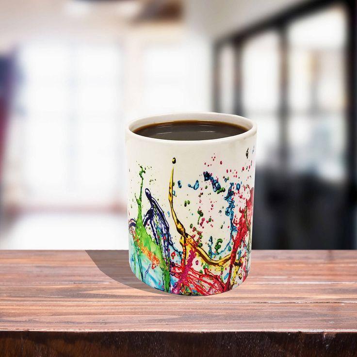 11 oz Black/White Ceramic Color Changing Coffee Mug, Color Splash by ExclusivelyYourLLC on Etsy