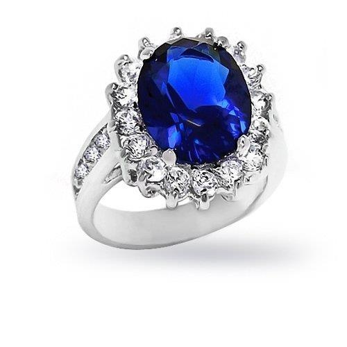 best price 5: Bling Jewelry Kate Middleton Diana Ring Oval Blue Sapphire Color CZ Engagement Ring Silver Plated 5ct with Crystal Gift Box cheap price anniversary rings