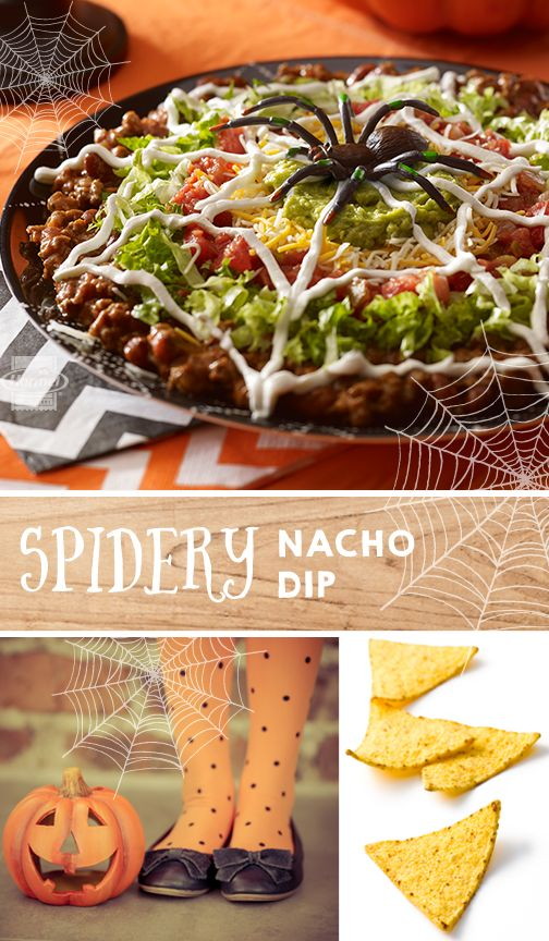This Spidery Nacho Dip is a perfectly spooky-delicious addition to the neighborhood Halloween party. Easy to make by layering the ingredients in slightly smaller areas as you go. Use a plastic sandwich bag with the corner clipped to create your sour cream spider web. Toy spider optional. #halloweenrecipes
