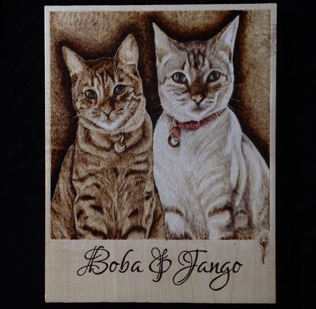 Pyrography , wood burning portrait cats