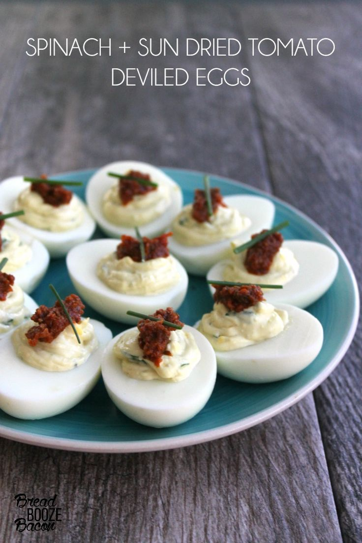 Sun dried tomatoes, Deviled eggs and Spinach on Pinterest