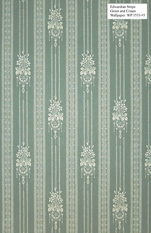 Wallpaper for Traditional Home - 1900's to 1920's - Edwardian Stripe