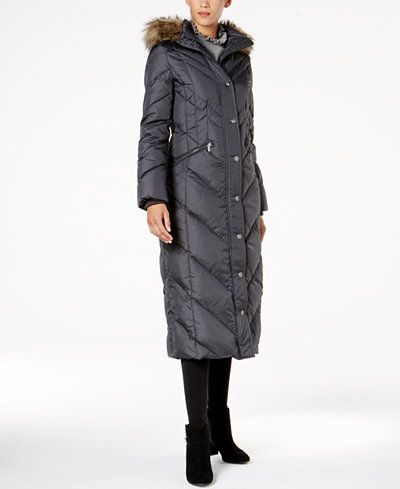 London Fog Faux-Fur-Trim Down Maxi Coat