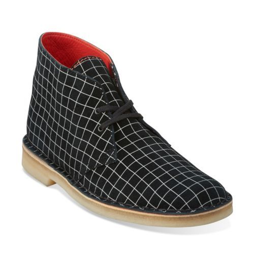 Mens Desert Boot Black/White Grid - Clarks Mens Shoes - Lace-ups and Slip-ons - Clarks - Clarks