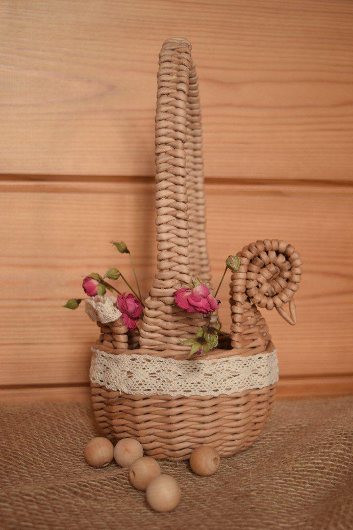 Плетёный сундук https://vk.com/pletenuy_sunduk Корзины декоративные пасхальные из бумажной лозы под заказ