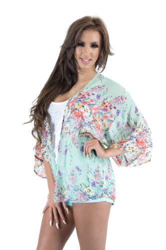 Ladies Celeb Inspired Kimono Kaftan Fine Knit Chiffon Printed Cardigan | eBay